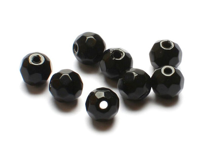Darts Glass Beads Faceted - Black